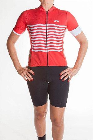 Camisa Ciclismo Feminina 2019 Basic Vermelho Branco
