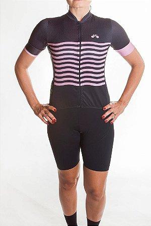 Camisa Ciclismo Feminina 2019 Basic Preto Rosa