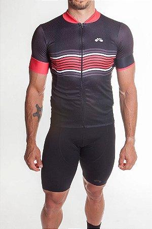 Camisa Ciclismo Masculina Basic 2019 Preto Vermelho
