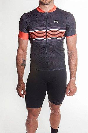 Camisa Ciclismo Masculina Basic 2019 Preto Laranja