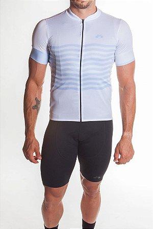 Camisa Ciclismo Masculina Basic 2019 Branco Azul