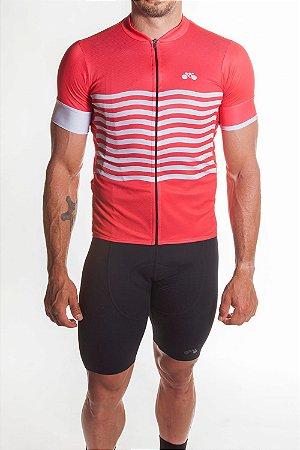 Camisa Ciclismo Masculina Basic 2019 Vermelho Branco