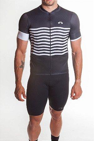 Camisa Ciclismo Masculina Basic 2019 Preto Branco