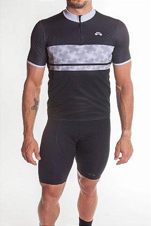 Camisa Ciclismo Masculina First Preto Cinza
