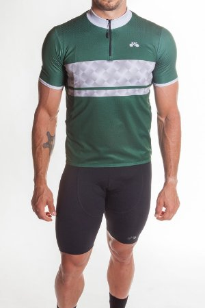 Camisa Ciclismo Masculina First Verde Cinza