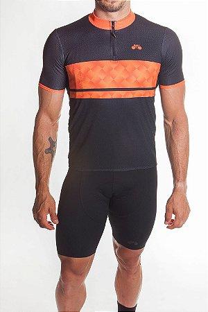 Camisa Ciclismo Masculina First Preto Laranja Neon