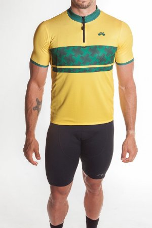 Camisa Ciclismo Masculina First Amarelo Verde