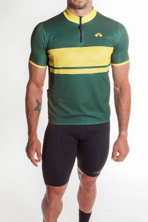 Camisa Ciclismo Masculina First Verde Amarelo