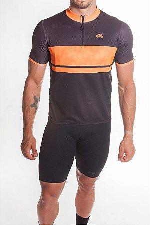 Camisa Ciclismo Masculina First Preto Laranja