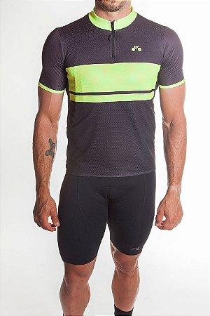 Camisa Ciclismo Masculina First Preto Amarelo Neon