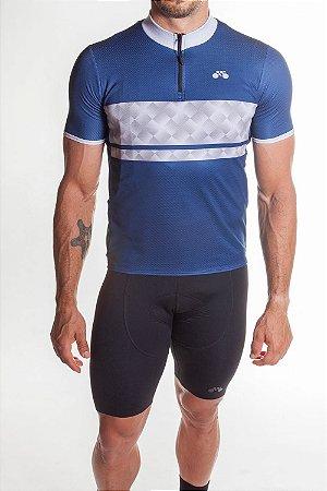 Camisa Ciclismo Masculina First Azul Marinho Cinza
