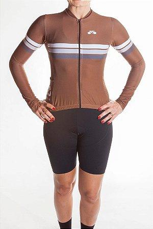 Camisa Ciclismo Feminina Sport Manga Longa Marrom