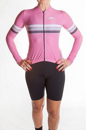 Camisa Ciclismo Feminina Sport Manga Longa Rosa