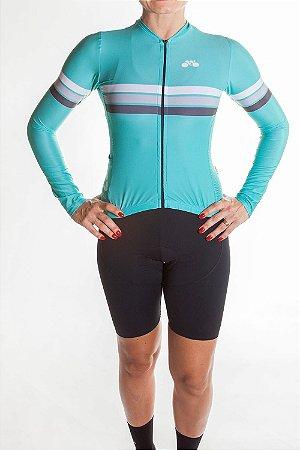 Camisa Ciclismo Feminina Manga Longa Sport Verde Tiffany