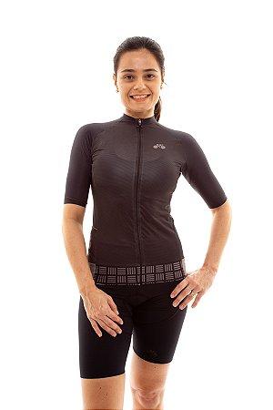 Camisa Ciclismo Feminina Aero 2020 Grafismo Preto