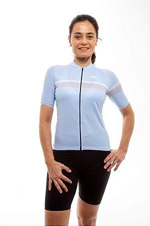 Camisa Ciclismo Feminina 2020 Basic Faixas Azul Bebê