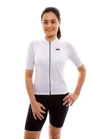 Camisa Ciclismo Feminina 2020 Basic Bolinhas Branco