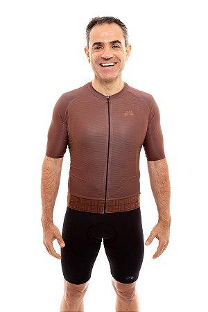 Camisa Ciclismo Masculina 2020 Aero Grafismo Marrom