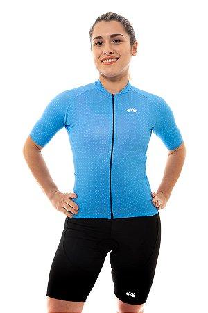 Camisa Ciclismo Feminina 2020 Basic Bolinhas Azul Claro