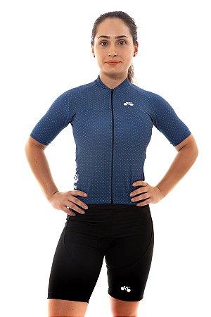 Camisa Ciclismo Feminina 2020 Basic Bolinhas Azul Marinho