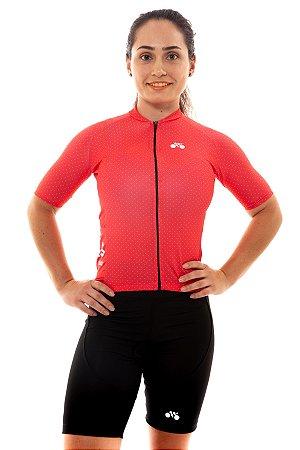 Camisa Ciclismo Feminina 2020 Basic Bolinhas Vermelho