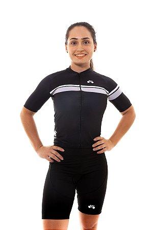 Camisa Ciclismo Feminina 2020 Basic Faixas Preto