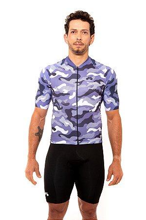 Camisa Ciclismo Masculina 2020 Basic Camuflada Azul