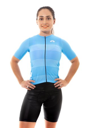 Camisa Ciclismo Feminina 2020 Sport Faixas Azul Claro
