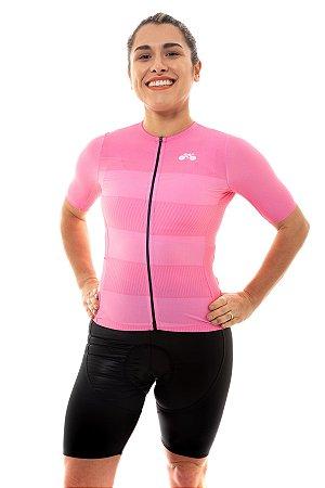 Camisa Ciclismo Feminina 2020 Sport Faixas Rosa