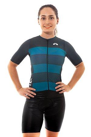 Camisa Ciclismo Feminina 2020 Sport Faixas Verde