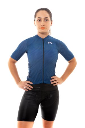Camisa Ciclismo Feminina 2020 Sport Op Art Azul Marinho