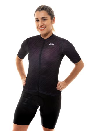 Camisa Ciclismo Feminina 2020 Sport Op Art Preta