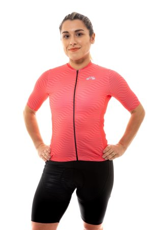 Camisa Ciclismo Feminina 2020 Sport Op Art Coral