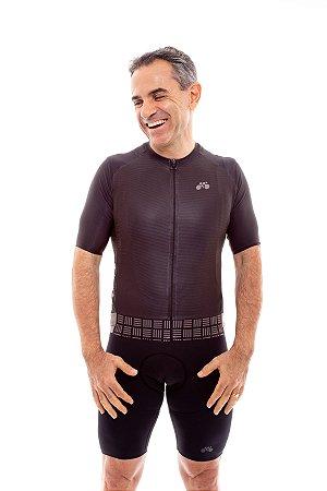 Camisa Ciclismo Masculina 2020 Aero Grafismo Preto