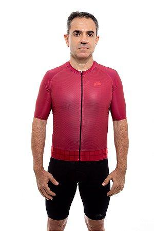Camisa Ciclismo Masculina 2020 Aero Grafismo Vinho