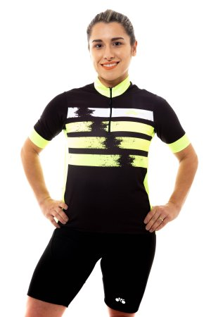 Camisa Ciclismo Unissex 2020 First Manchas Amarelo Neon