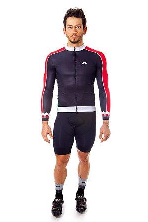 Camisa Ciclismo Masculina Manga Longa Basic Preta Vermelha
