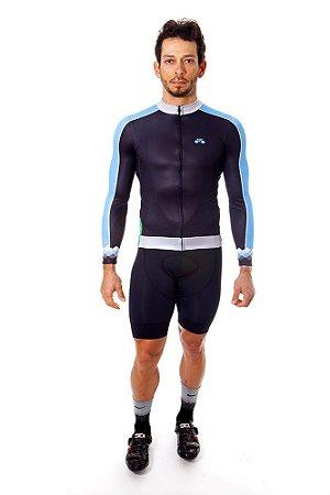 Camisa Ciclismo Masculina Manga Longa Basic Preta Azul