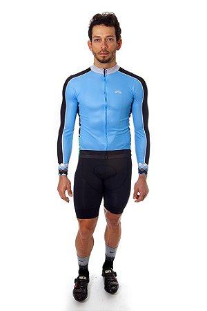 Camisa Ciclismo Masculina Manga Longa Basic Azul Preta