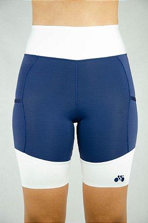 Bermuda Triathlon Feminina Azul Branco