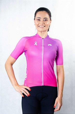 Camisa Ciclismo Feminina Degradê Outubro Rosa