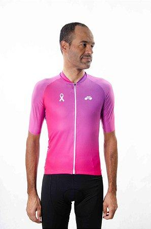 Camisa Ciclismo Masculina Degradê Outubro Rosa