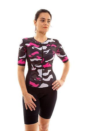 Macaquinho Ciclismo Feminino Basic 2020 Camuflado Rosa