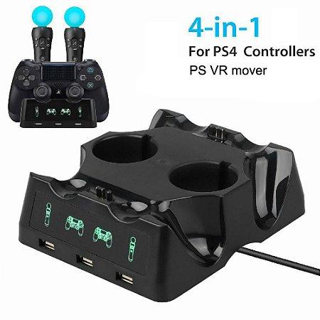 Estação de Carga Iplay P/ 2 PSMoves + 2 Dualshock 4 - PS4
