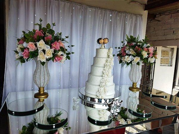 Locação de  Decoração Luxo para Casamento com Mesa Espelhada