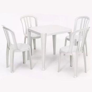 Venda de Mesa com 4 Cadeiras de Plástico na cor Branca