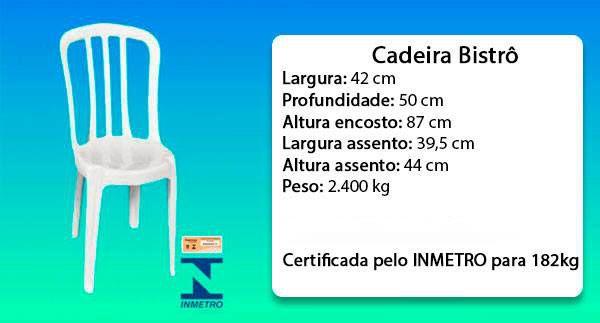 Kit com 15 Cadeiras Bistrô Branca Sem Apoio de Braço 182kg