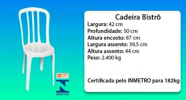 Kit com 45 Cadeiras Bistrô Branca Sem Apoio de Braço 182kg