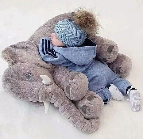 Almofada Travesseiro Elefante Bebê Dormir 45 Cm Cinza