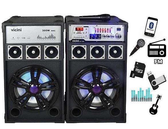 Caixa Som Amplificador 300w  220v 110v Usb Bluetooth Audio